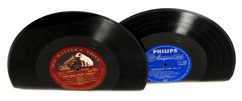Vinyl Record Book Ends - His Masters Voice and Phillips