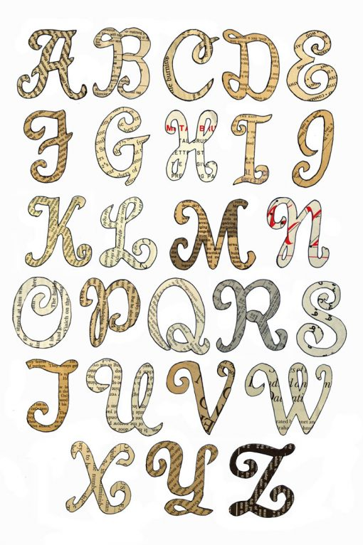 Variety of Book Print Letters