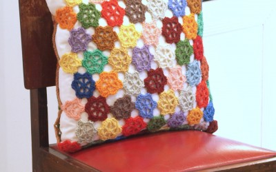 Crochet Cushion from Tapestry Scraps