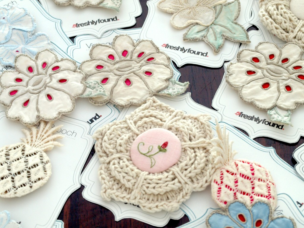 Hand-stitched Brooches created from vintage Linens