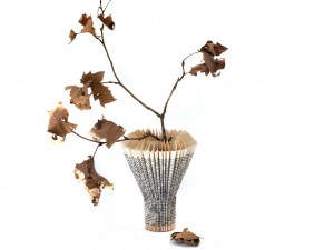 Pleated Book Paper Vase with Autumn Leaf 'Blooms'