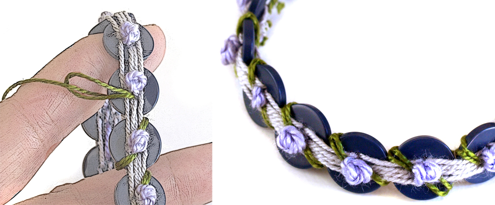 Button Bracelet with lilac French knots