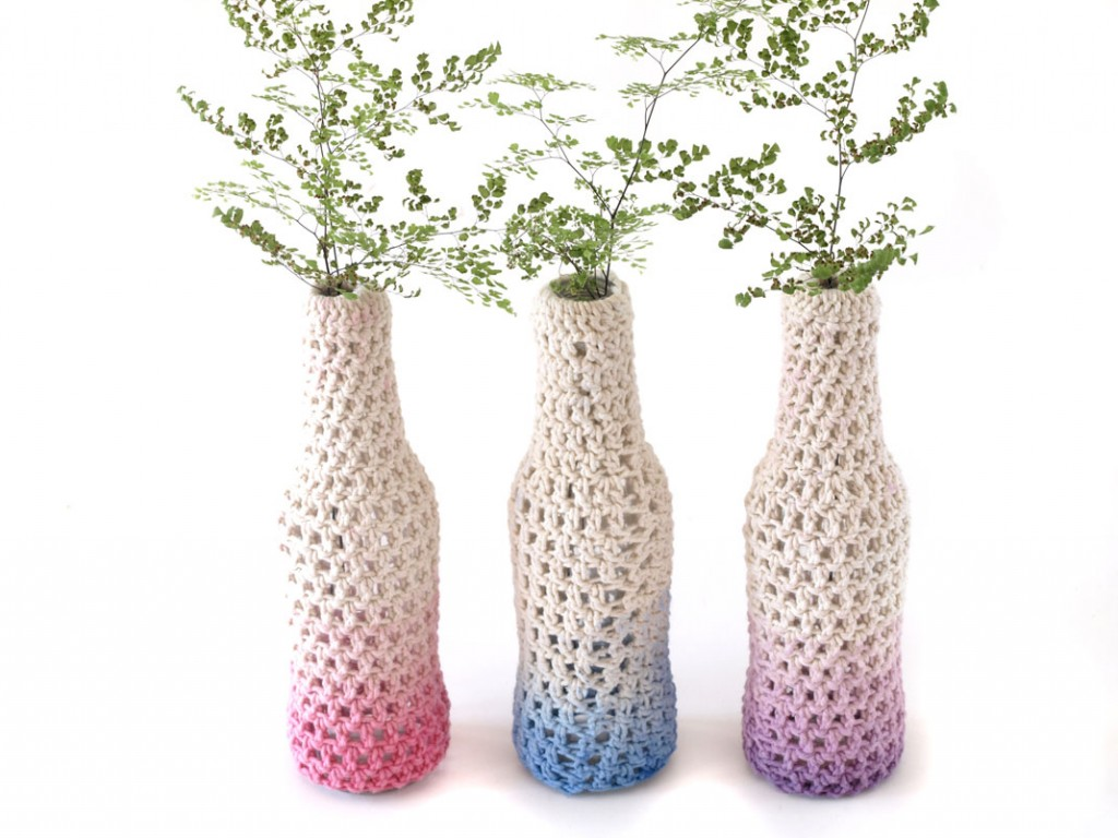Trio of Crochet Vases