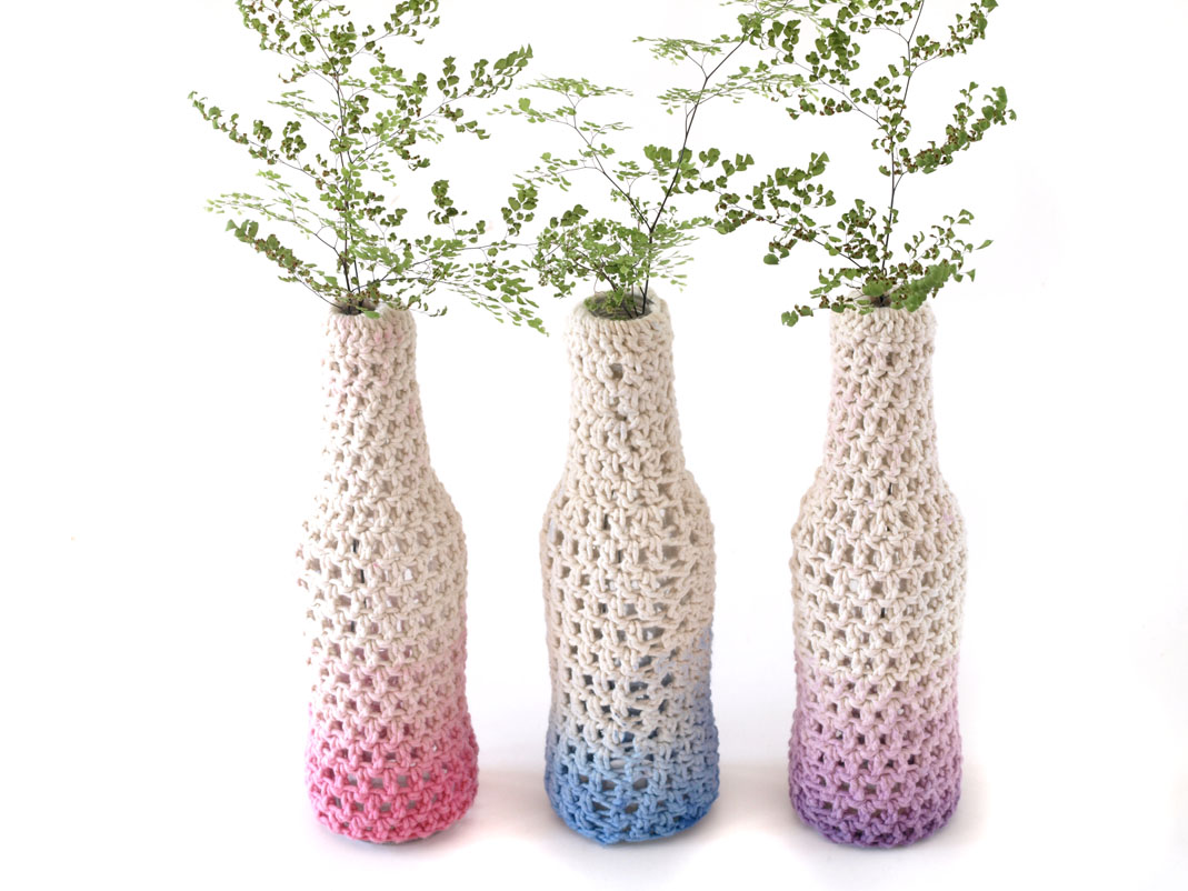 Free Crochet Pattern For Vase From A Recycled Glass Bottle