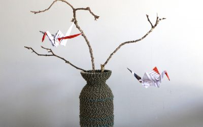 Edson Chagas Print Metamorphed into Origami Cranes