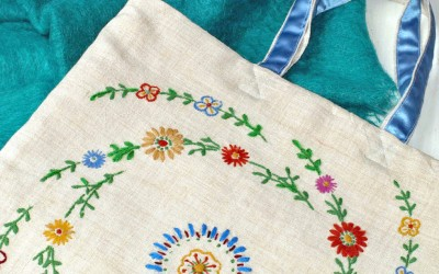 Recycled Vintage Embroidery Bag – Antimacassar Tote!