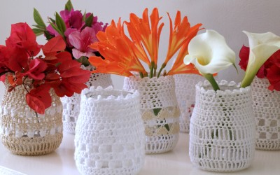 Cotton Crochet Covered Jars