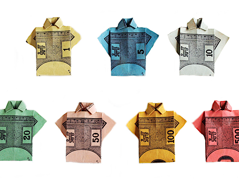 Origami Shirt Monopoly Money