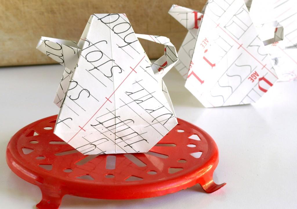 Paper Origami Teapot