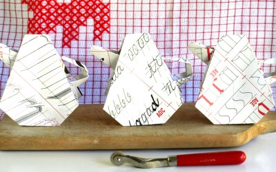 Paper Origami Teapot Trio from Book Paper