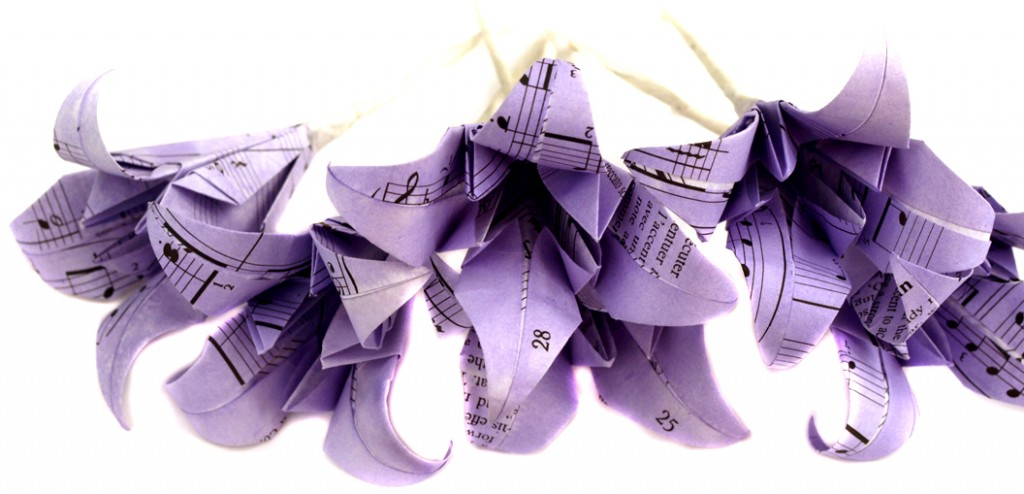 Gentian dyed lilac origami lily buttonholes