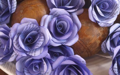 Gentian Violet Paper Rose Buttonholes