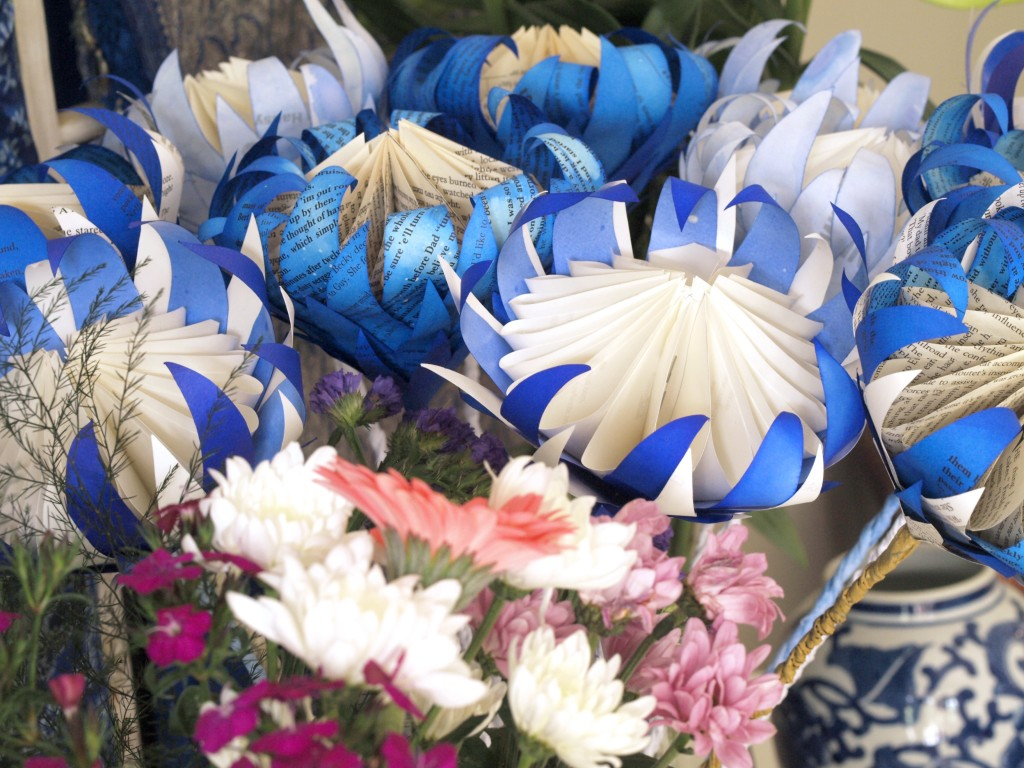 Blue and White paper proteas