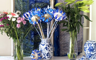 Blue and White Paper Proteas – A Happy Spring Day