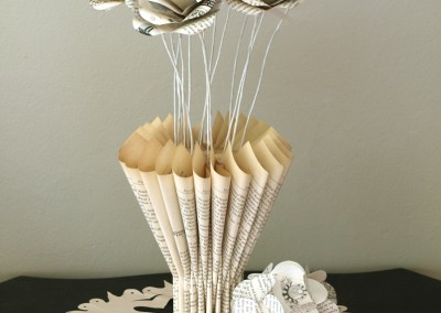 In folded book vase