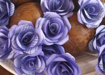 Book paper buttonhole roses