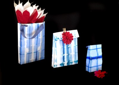 Blue and White dyed paper bags