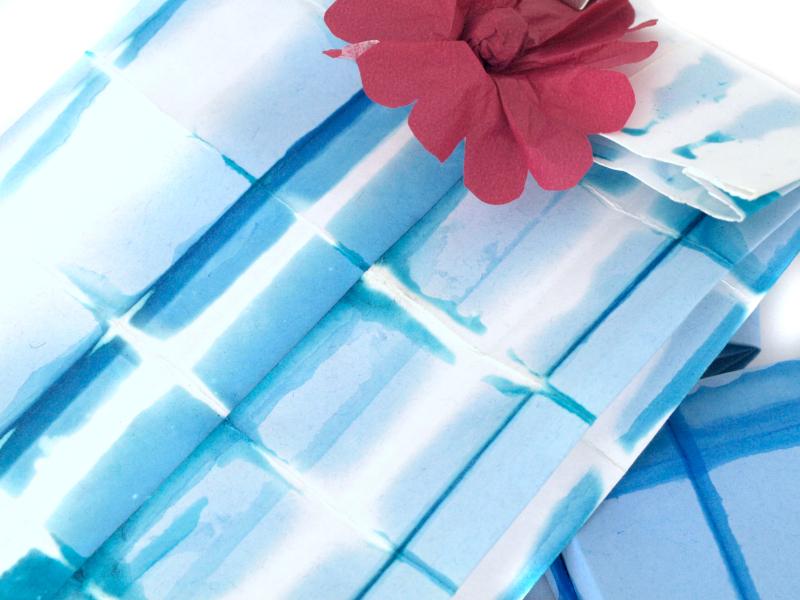 Paper Plaid Resist bleach print