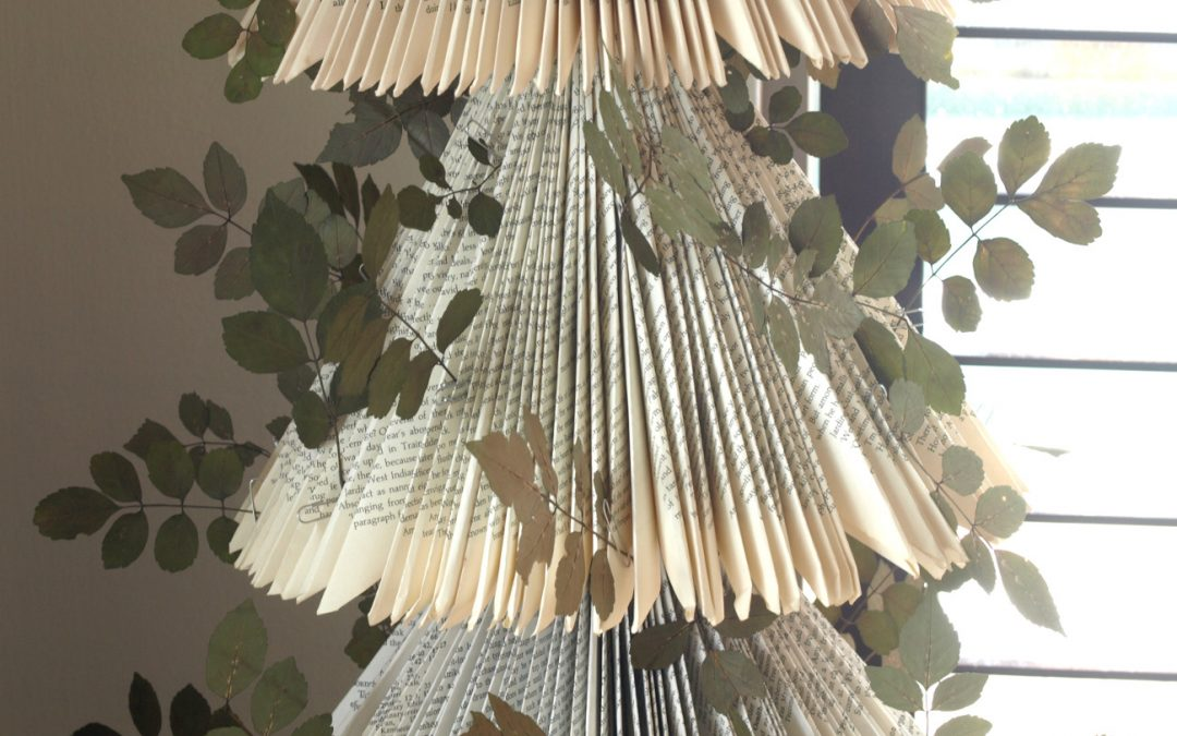 Book Paper Tree – Decorated with Pressed Garden Leaves