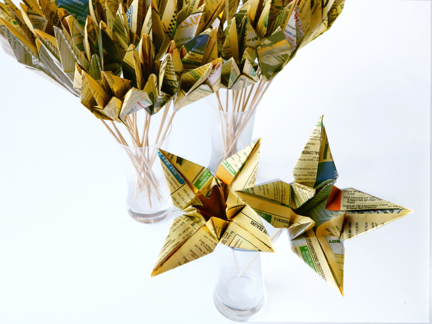 Paper Origami Cranes and Lilies for a Re-launch