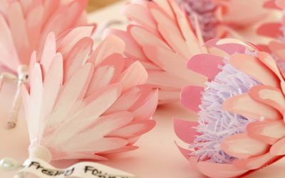 Pink Painted Paper Boutonnieres
