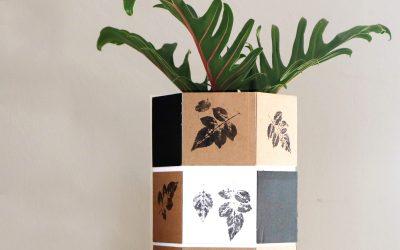 Cape Honeysuckle Leaf Print on Hexagonal Paper Vase
