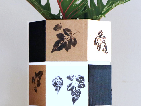 Cape Honeysuckle Leaf Print on Hexagonal Paper Vase