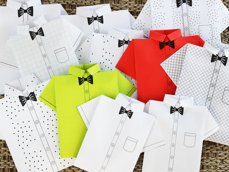 Paper Origami Shirts – DIY Gift Voucher Card