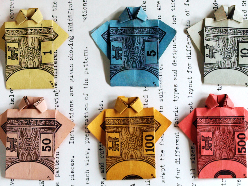 Origami Shirt Monopoly Money
